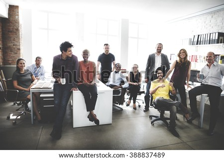 Cheerful Collaboration Colleagues Office Concept - stock photo