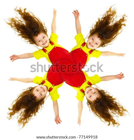 Cheerful collage - pinwheel of smiling little girls - stock photo