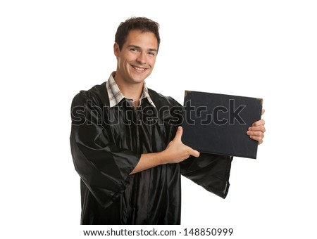 Cheerful College Graduate Student Holding Graduation Certificate Isolated on White Background - stock photo