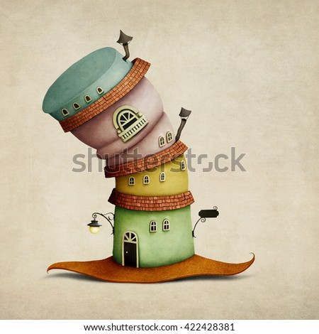 Cheerful color  cartoon  fancy house in  form of  hat - stock photo