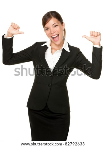 cheerful confident young business woman pointing at herself cheering happy. Beautiful mixed race Caucasian / Asian female model. - stock photo
