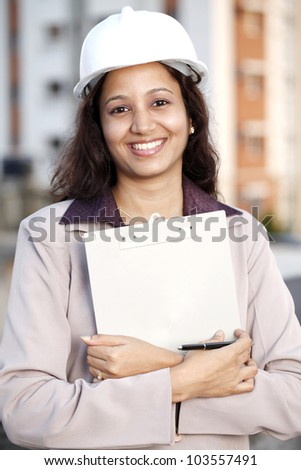 Cheerful construction engineer - stock photo