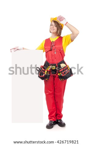 cheerful construction female worker holding blank board with empty copy space for you text isolated on white background. advertisement banner. your text here - stock photo