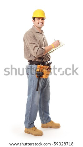 Cheerful contractor taking notes while looking at camera - stock photo