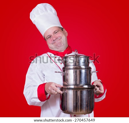 cheerful cook carries column of pot - stock photo