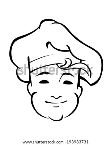 Cheerful country chef with a floppy toque and friendly smile, black and white line sketch of his face. Vector version also available in gallery - stock photo