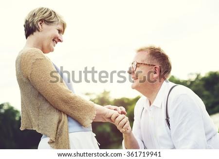 Cheerful Couple Happiness Pleasure Romantic Love Concept - stock photo