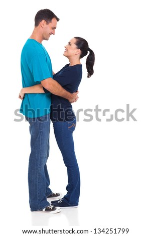 cheerful couple hugging isolated on white background