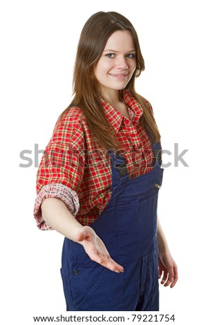 Cheerful craftswoman give hand isolated on white background - stock photo