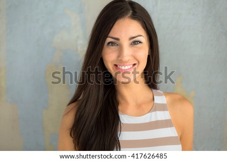 Cheerful cute adorable girl next door head shot smiling with perfect white teeth dental head shot - stock photo