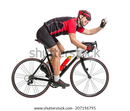 cheerful cyclist photographing himself on a bike isolated on white background