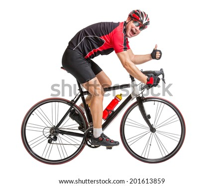 Cheerful cyclist with winning gesture riding a bike isolated on white background. Cyclist showing thumbs-up gesture. Victorious gesture on the cycling race. Successful biker with thumbs up. - stock photo