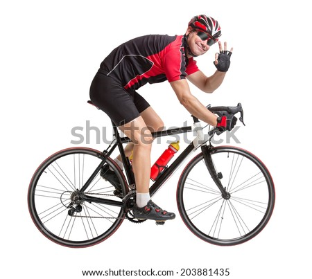 Cheerful cyclist with winning gesture riding a bike isolated on white background. Cyclist shows gesture o.k. Cyclist riding a bike with hand gesture makes perfect. Successful biker riding a bike. - stock photo