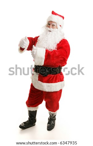 Cheerful dancing Santa Claus.  Full view on white background. - stock photo