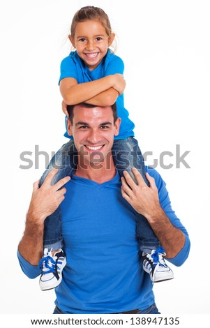 cheerful daughter sitting on father's shoulders white background - stock photo