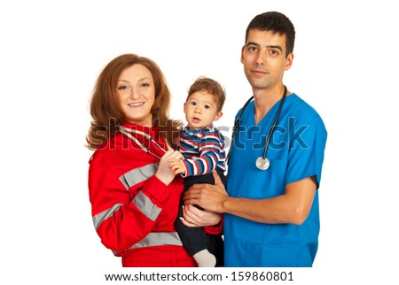Cheerful doctors holding baby boy isolated on white background - stock photo