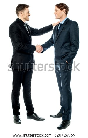 Cheerful entrepreneurs shaking hands