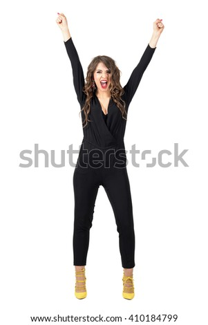 Cheerful excited cheering screaming woman with arms reaching up. Full body length portrait isolated over white studio background. - stock photo