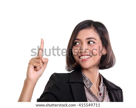 Cheerful expression of an Asian business woman pointing one finger up at copy space, closeup portrait, isolated on white - stock photo