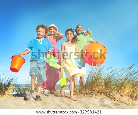 Cheerful Family Bonding Beach Togetherness Joyful Concept - stock photo