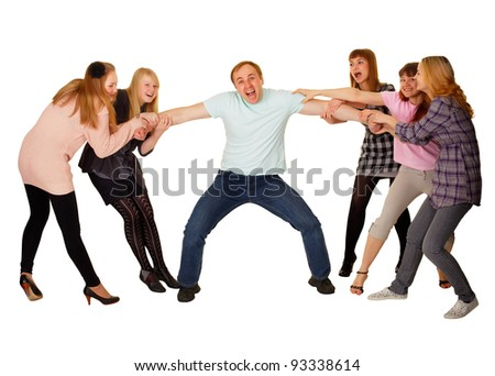 Cheerful family having fun on white - stock photo