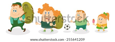 Cheerful family of tourists, father and mother with backpacks, son with soccer ball and daughter with ice-cream going on vacation.  - stock photo