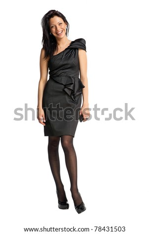 Cheerful fashion model in black dress over white background - stock photo