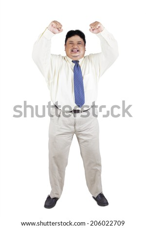 Cheerful fat businessman expressing success, isolated on white background - stock photo