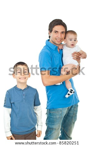 Cheerful father with two boys isolated on white background - stock photo