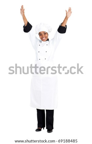 cheerful female african american chef isolated on white - stock photo