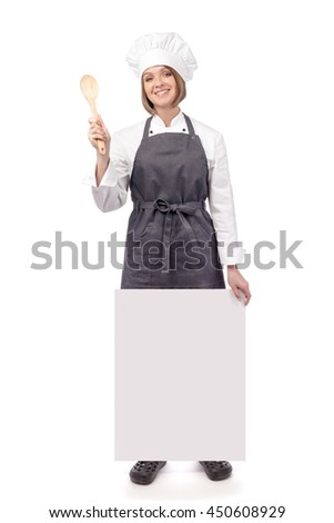 cheerful female chef, cook or baker holding blank board with empty copy space for you text isolated on white background. advertisement banner. your text here - stock photo