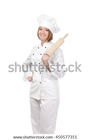 cheerful female chef, cook or baker holding rolling pin isolated on white background