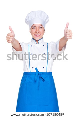 cheerful female chef, cook or baker in uniform and hat. isolated on white background - stock photo