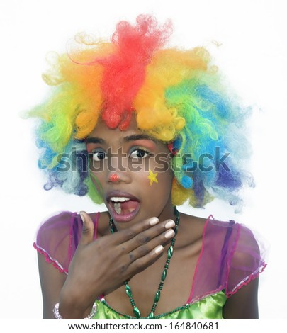 Cheerful Female Clown Surprised