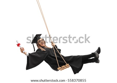 Cheerful female graduate student holding a diploma and swinging on a swing isolated on white background