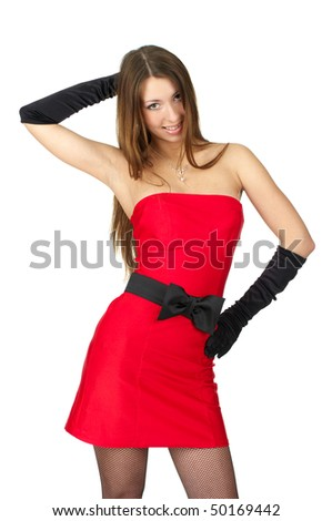 Cheerful female in little red dress and evening gloves over white background