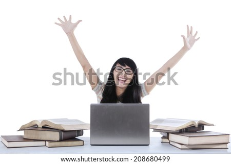 Cheerful female student expressing happiness, isolated on white background
