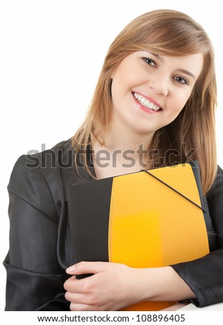 cheerful female student looking at camera, white background
