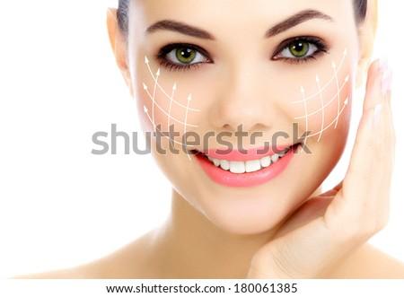 Cheerful female with fresh clear skin, white background - stock photo