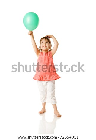 Cheerful five year girl holding balloon isolated on white - stock photo