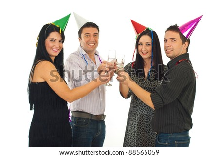 Cheerful friends toasting with champagne at New Year's Eve party isolated on white background - stock photo