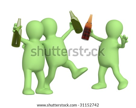 Cheerful friends with bottles of beer. Object over white