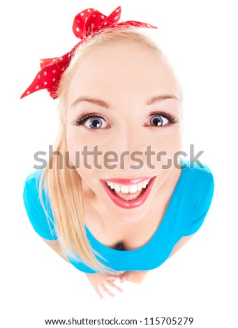 Cheerful funny girl isolated on white, fish eye lens shot - stock photo