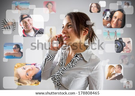 Cheerful girl calling to friends on the phone - stock photo