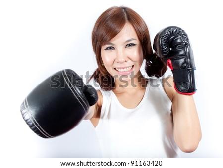 Cheerful girl enjoy boxing on white background - stock photo