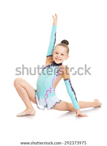 Cheerful girl in a beautiful gymnast sports swimsuit shows exercises - isolated on white background - stock photo