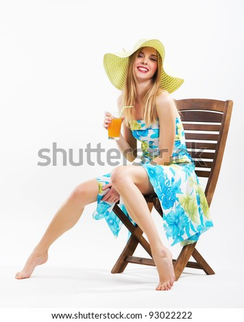 Cheerful girl is relaxing on vacation - stock photo