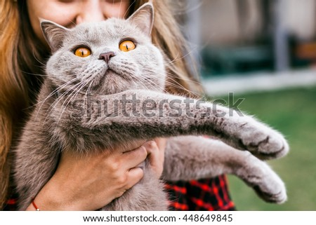cheerful girl plays with her cat in the yard of the house in spring - stock photo