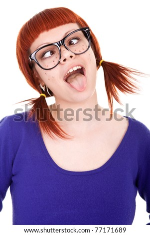 cheerful girl with red hair showing tongue,  isolated on white