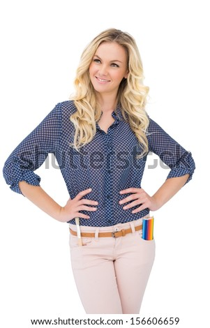 Cheerful gorgeous artist posing on white background - stock photo